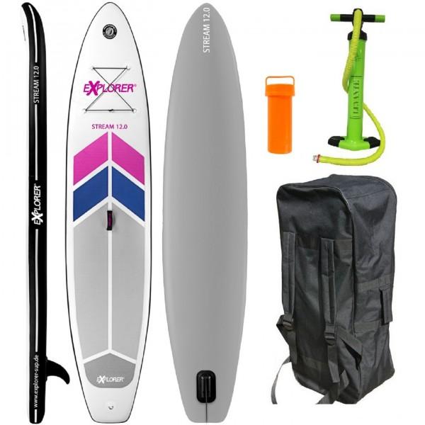 "Stand-Up-Paddle ""Adventure Sport No.2"" grau rosa blau weiß 366x81x15cm SUP Paddling"