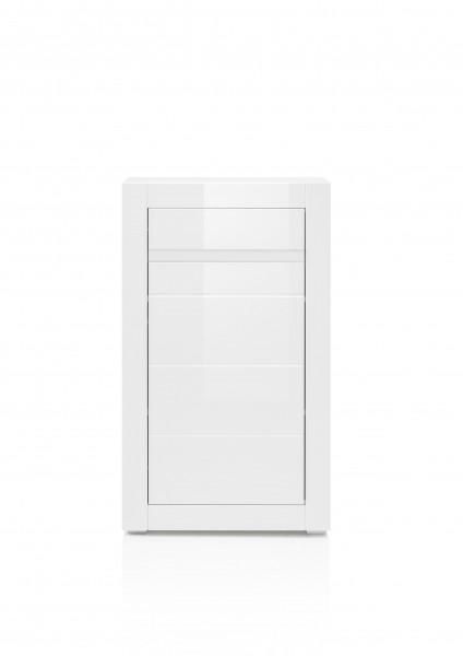 "Sideboard ""Holy I"" Kommode, Hochglanz Weiß, Beton Look, 100 x 112 x 35 cm"