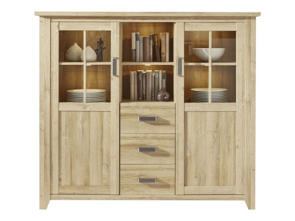 Highboard 'La Donna', Kommode, Schrank, Alteiche Nachbildung 163x145x42cm