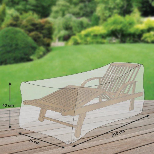 Schutzhülle für Rollliegen / Sonnenliegen, 210 x 75 x 40 cm, transparent, Regenschutzhaube, Garten