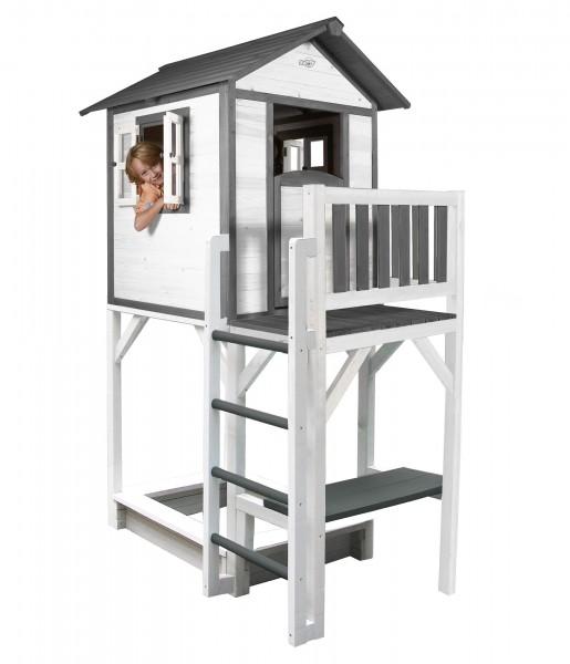 """Holzspielhaus """"Sun XXL"""" mit Leiter + Rutsche + Sandkasten 168x114x249cm aus Holz in grau-weiß"""