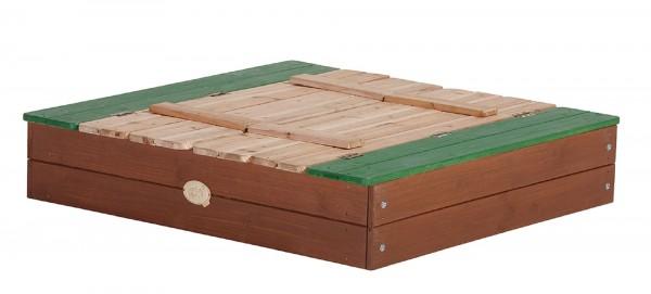 """Sandkasten """"Ulla"""" in braun, grün aus Zedernholz 100x95x20cm mit Abdeckung"""