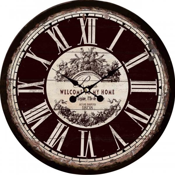 "Wanduhr ""Welcome to Paris"" aus Holz 34x34x5 cm, schwarz"