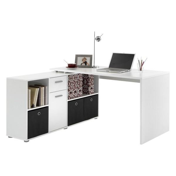 """Eck-Schreibtisch, Winkeltisch """"Ahi"""" in weiss, 136x74x66,5 cm"""