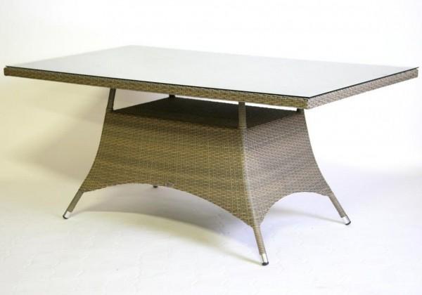 """Gartentisch """"Throne"""" beige-grau 165x90 cm Outdoortisch Tisch Rattan eckig"""