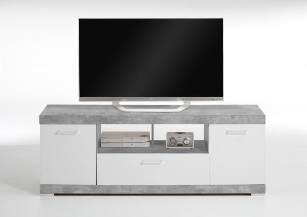 "TV-Lowboard ""Marta"", 160 x 59,5 x 42 cm, Beton/weiß, Hifi-Lowboard, Lowboard, Wohnzimmer"