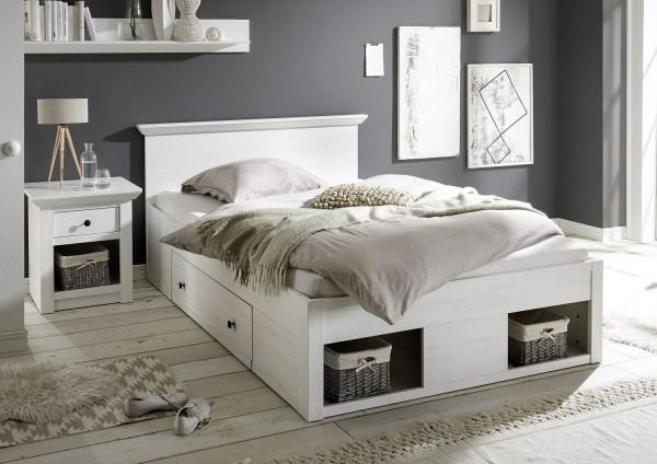 """Bett """"Feres M"""" mit Bettschubkästen, Pinie Weiss Nachbildung, 155x92x212 cm"""