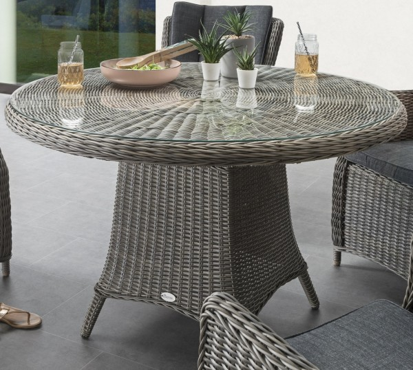 """Tisch """"Honey"""", vintage grau, 120 Ø x 76 cm, mit Glasplatte, Gartentisch, Balkontisch, Garten"""