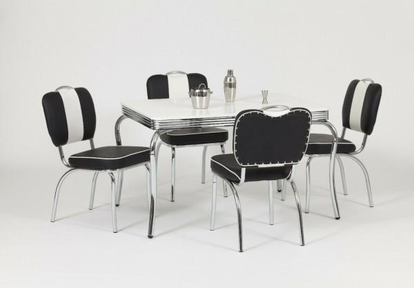 """Tischgruppe Set """"Seliana I"""" Diner Set schwarz/weiss Bistrotisch 4xStuhl Küchenset Essgruppe"""