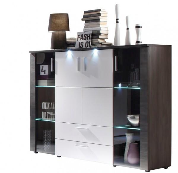 """Highboard """"Tess"""", Wohnzimmermöbel, Esche grau, weiß, inkl. Beleuchtung, 150 x 123 x 42 cm"""