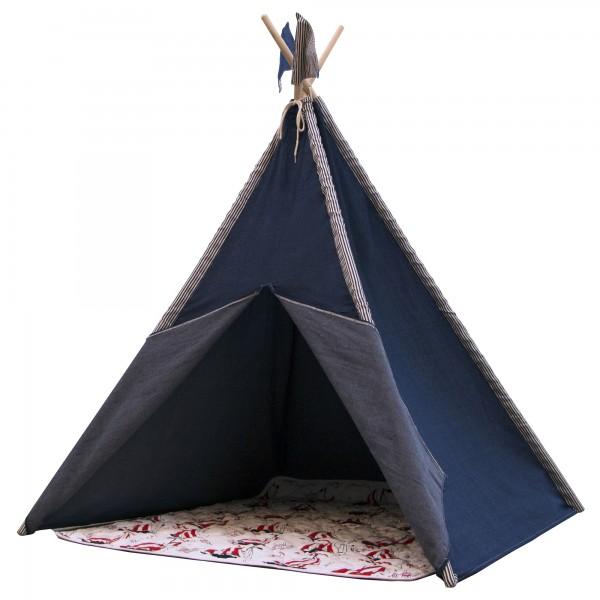 "Tipizelt ""Awan"" blau aus Baumwolle + Eukalyptus 120x120x160cm Kinderzelt"