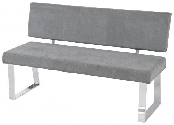 "Sitzbank ""Blanca"" grau Gestell verchromt Webstoff 140x57x84cm Esszimmerbank"