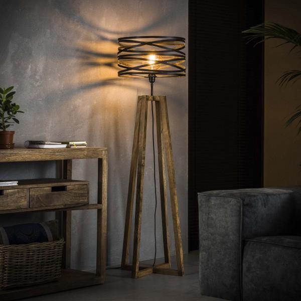 "Stehlampe ""Timola"" 1 Lampenschirm Holz Metall 41x41x141cm (B/T/H) Stehleuchte Zijlstra"