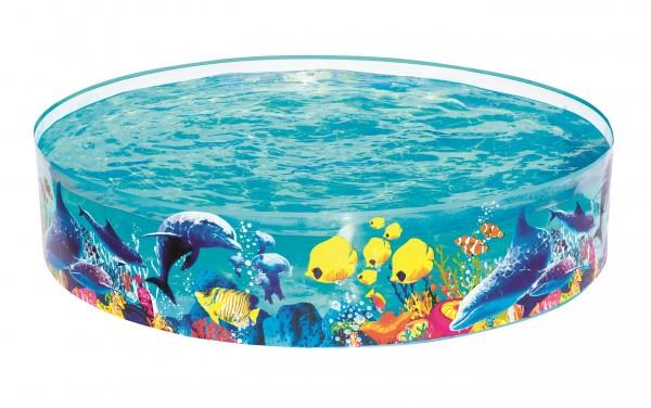 """Pool """"Flippa"""" blau transparent 138x138x38cm Planschbecken Kinderpool kein Aufblasen"""