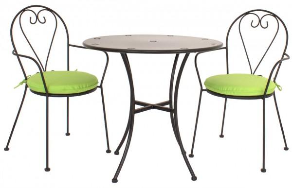 """Bistromöbel Set """"Rom"""" 4x Gartenstuhl inkl Sitzkissen 1xTisch Stahl schwarz Balkonmöbel Bistrotisch"""