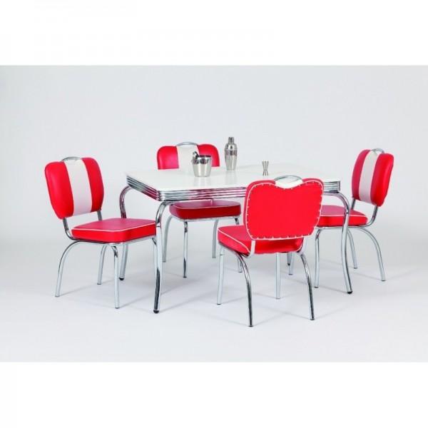 "Tischgruppe Set ""Seliana"" Diner Set rot/weiss Bistrotisch 4xStuhl Küchenset Essgruppe"