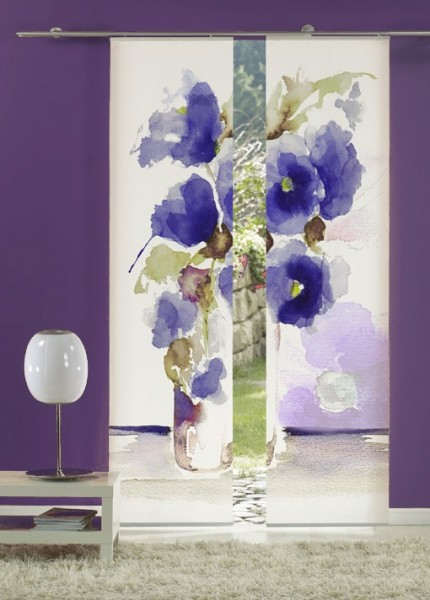 Flächenvorhang Schiebevorhang 2er Set Aquarell Mohn Blau inkl. Montagesatz