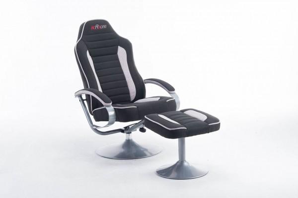 """mcRacing Gaming Sessel """"Quinn II"""" - Chefsessel Sportsitzoptik mit Armlehne und Hocker Schwarz-Grau"""