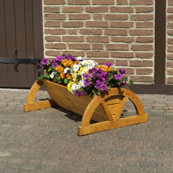 "Pflanzkasten ""Amanda"", Kiefer, honigbraun, 85 x 60 x 30 cm, Blumenpflanzkasten, Blumendeko, Garten"