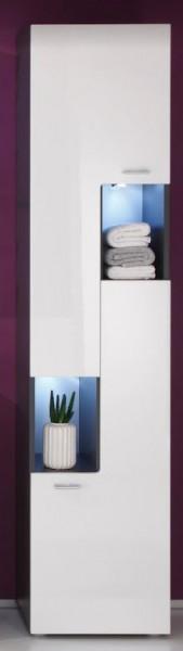 """Hochschrank """"Finnja"""", rechts, Schrank, Badezimmerschrank, graphit, weiß, 40x182x30cm, mit Beleuchtung"""