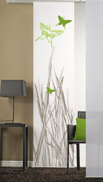 Flächenvorhang Schiebevorhang 1er Schmetterlinge Grün inkl. Montagesatz