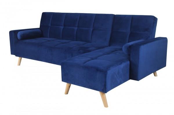 """Ecksofa """"Mariam II"""" blau ausklappbar 144/162cm(L/T)x251cm(B)x89cm(H) Schlafsofa Zweisitzersofa"""