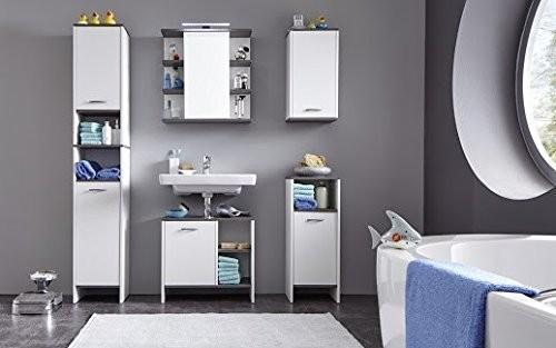 Badezimmer Set 'Uni Star', Badschrank, Waschbeckenunterschrank, Spiegelkschrank, Standschrank weiss