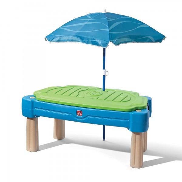 """Wasserspieltisch """"Charlston"""" aus Kunststoff 61x108x58,4cm inkl. Sonnenschirm Sand- und Wassertisch"""