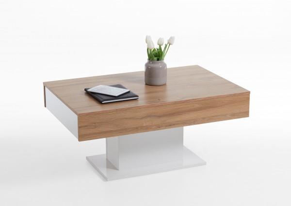 """Couchtisch """"Caro"""", 100 x 47 x 65 cm, Alteiche/weiß Edelglanz, Wohnzimmertisch, Tisch, Sofatisch"""