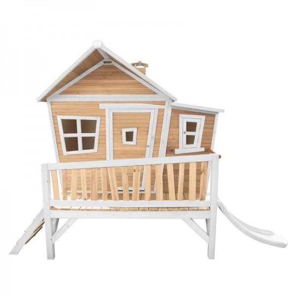 """Holzspielhaus """"Vinna I"""" Holz in braun-weiß 193x349x227cm Veranda, Leiter, Rutsche"""