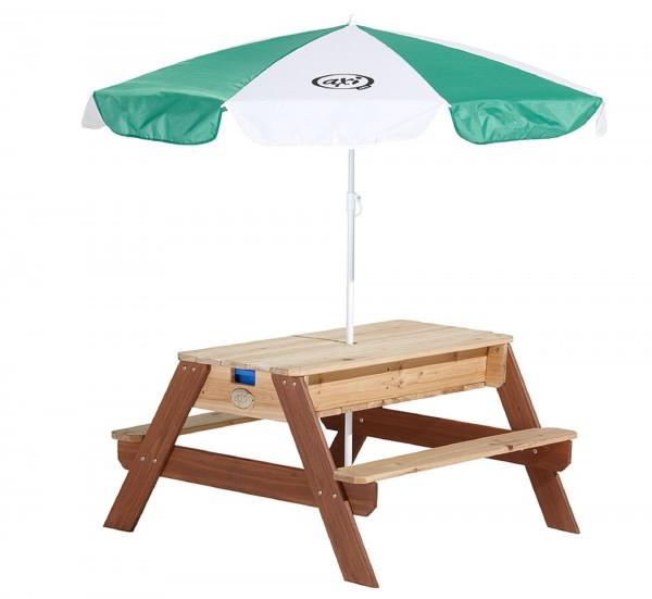 """Picknick-Set """"Josie"""" aus Zedernholz mit Sonnenschirm in braun 90x80x56cm Picknicktisch"""