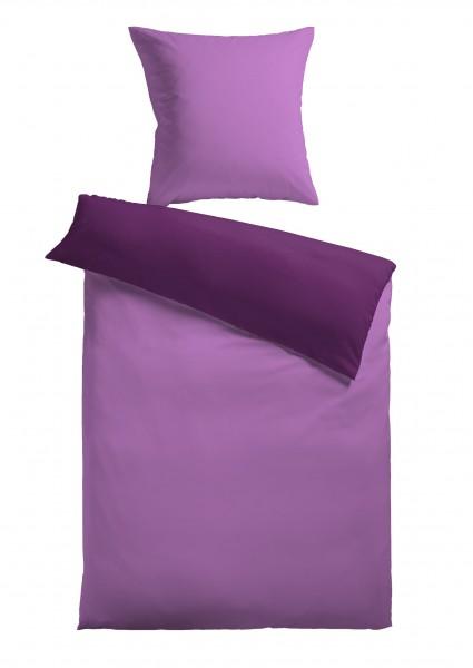 """Bettwäsche """"Bella"""" violett mit Reißverschluss Polyester Fleece 155x220cm Wendebettwäsche"""