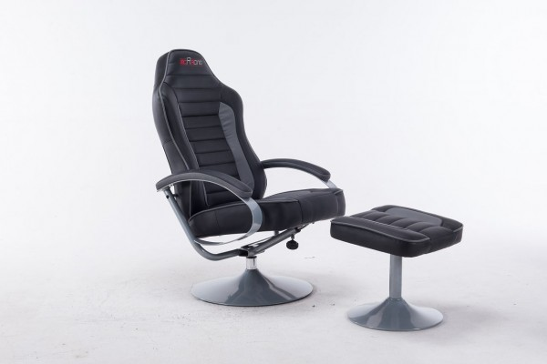 "mcRacing Gaming Sessel ""Jokim II"" - Chefsessel Sportsitzoptik mit Armlehne u Hocker Schwarz-Grau PU"