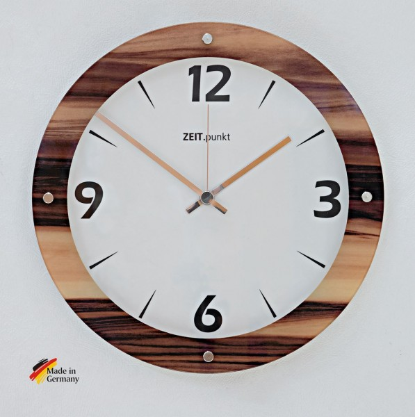 """Funkwanduhr """"Wood"""" mit bedrucktem Glas in Holzoptik, Ø 30 cm, holz"""