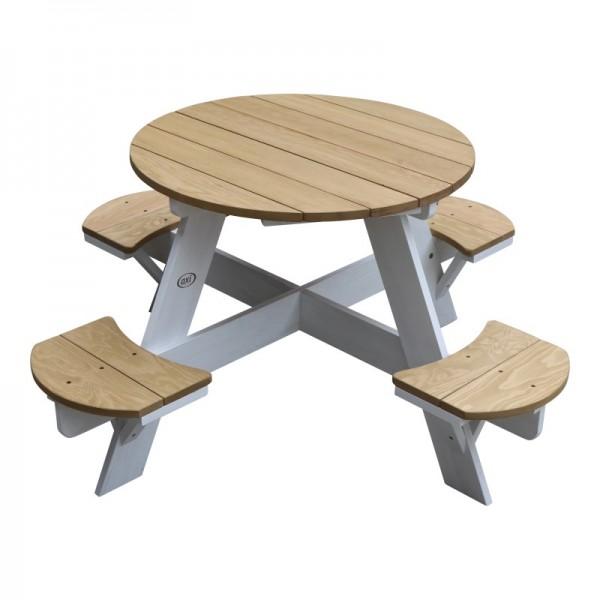"""Picknicktisch """"Alix"""" Hemlock Holz braun-weiß 120x120x56cm Kindergartentisch"""