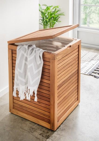 """Wäschebox """"Trixy"""", Teakholz, 45 x 45 x 66 cm, Wäschekorb, Wäscheaufbewahung, Badezimmer"""