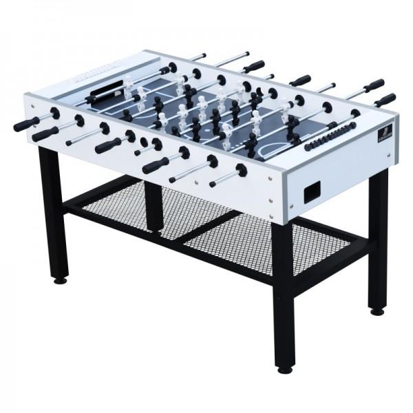 """Fußballtisch """"Ramos"""" aus Holz in weiß-schwarz 141x74x88cm Tischfussball Kicker"""