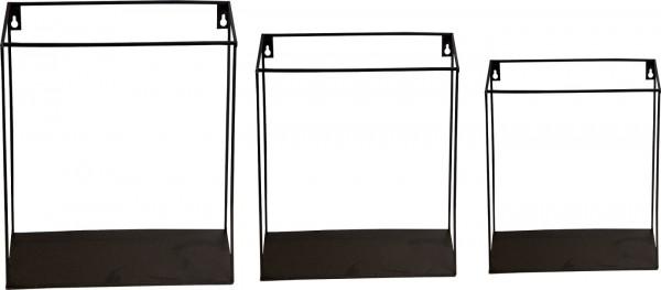 """Spiegelprofi 51023204 Metallregal-Set MOSEL Wandregal-Set, """"Carré"""" - schwarz, 35x25 / 30x21,5 / 25x15 cm, Metallregal Regal"""
