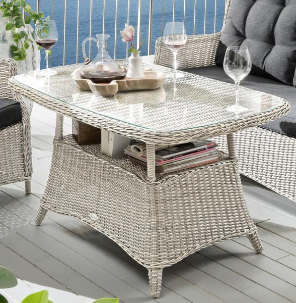 """Tisch """"Sally"""", vintage weiß, 120 x 72 x 67 cm, mit Glasplatte, Gartentisch, Balkontisch, Garten"""