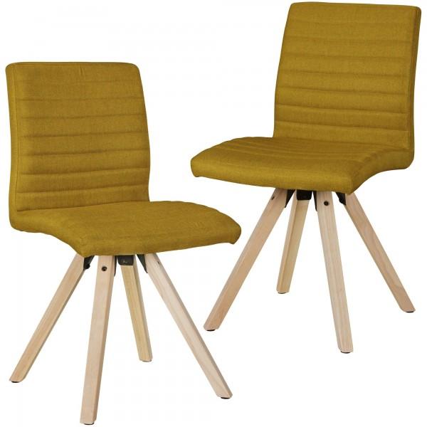 "2er Set Stuhl ""James II"" Curry Holzstuhl Rubberwood 40x86x46cm Esszimmerstuhl"