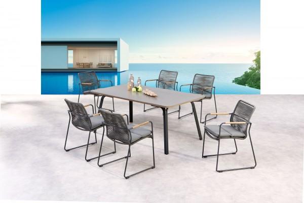 "Gartengruppe ""Ruby"" 7-tlg. anthrazit/grau Tisch 180x100cm 4xStapelsessel Strick-Optik Sitzgruppe"