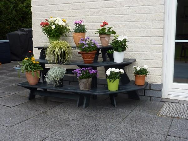 """Blumentreppe """"Valentina"""", anthrazit, 137 x 59 x 62 cm, Blumendekoration, Blumendeko, Garten"""