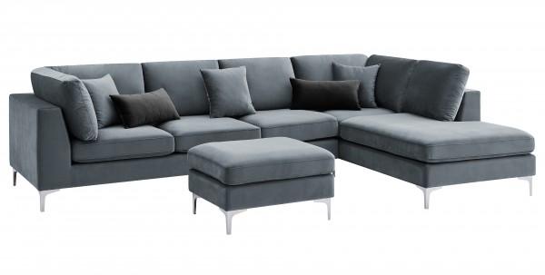 """Ecksofa """"Dorina II"""" blau mit Hocker 65cm (L/T) und Kissen 94(L/T)x207/230(B)x89(H)cm Sofa"""