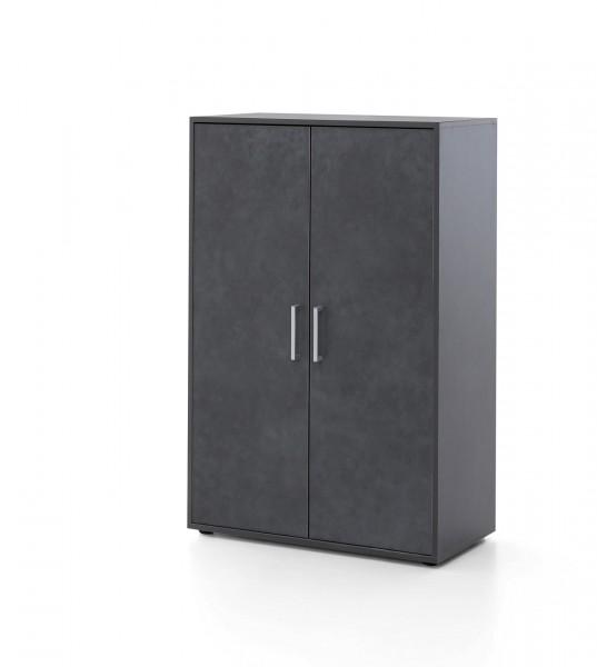 """Schrank """"Anna II"""" graphit 73x110,5x37cm 2 Türen breit Büroschrank Aufbewahrungsschrank"""