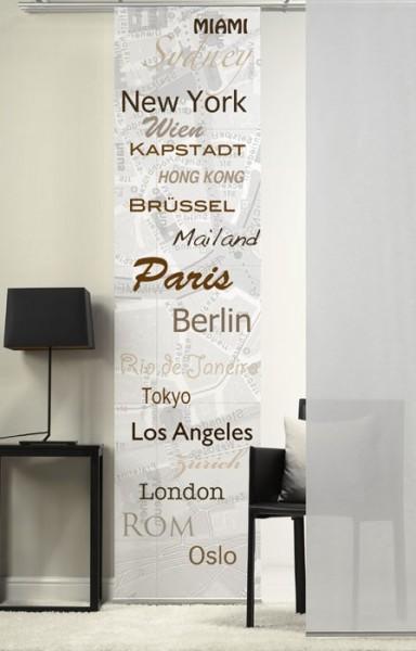 Emotion Textiles 1er Flächenvorhang Schiebevorhang Städte Braun mit eigenem Wunschnamen