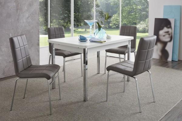 """Tischgruppe Set """"Morgan Island"""" 4 Stühle Tisch weiss grau"""