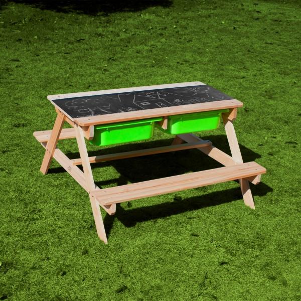 """Kinder Picknicktisch mit Tafel """"Isla"""" aus Hemlock Holz in braun 89x89x50cm Gartentisch"""