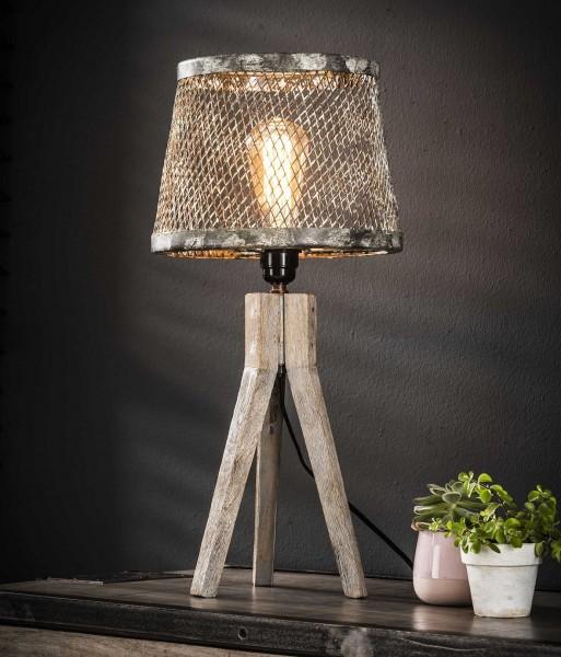 """Tischlampe """"Rovio"""" Massivholz Kupfer grau weiß 25x25x53cm (B/T/H) Industrial Style Zijlstra"""