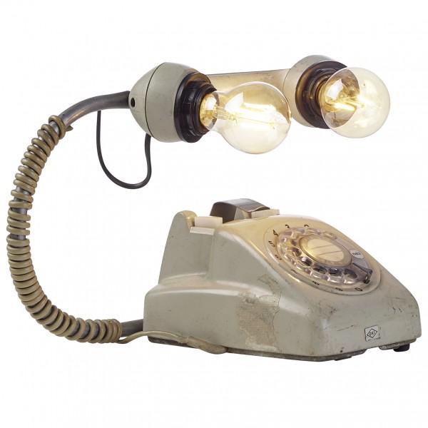 "Tischlampe ""Lizzy"" Vintage Look Telefonoptik 32x24x21cm Ringscheibentelefon Lampe"