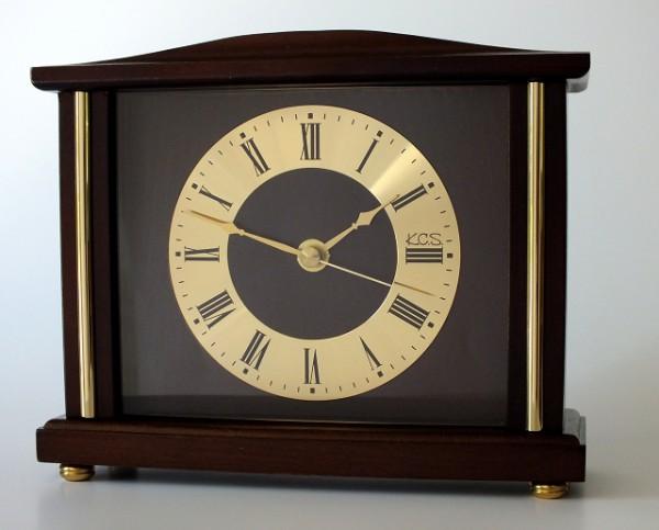 """Analoge Tischuhr Standuhr """"Foix"""" Uhr, Antik, Standuhr, Küche, Wohnzimmer, Diele/Flur, 17x22 cm, in Nussbaum"""